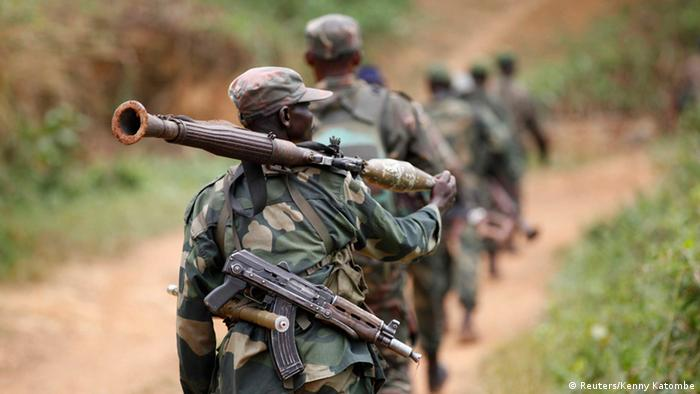 Democratic Republic of Congo military personnel (FARDC) patrol near Beni in North-Kivu province (Reuters/Kenny Katombe)