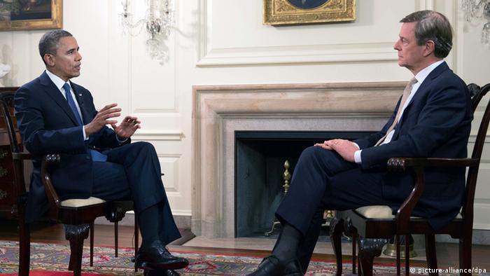 مصاحبه کلاوس کلبر، خبرنگار شبکه دو تلویزیون سراسری آلمان، با باراک اوباما، رئیسجمهور ایالات متحده آمریکا