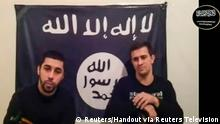 Men claiming to be from an Islamist militant group speak, in this still image taken from video footage posted on the Internet on January 20, 2014. An Islamic militant group said in a video posted online that it was behind two suicide bombings that killed at least 34 people last month in the Russian city of Volgograd, and threatened to attack the Sochi Winter Olympics. The video says two men called Suleiman and Abdurakhman carried out the Volgograd attacks on behalf of a group known as Vilayat Dagestan and linked to an Iraqi faction called Ansar al-Sunna. REUTERS/Handout via Reuters Television (RUSSIA - Tags: CIVIL UNREST POLITICS SPORT OLYMPICS)