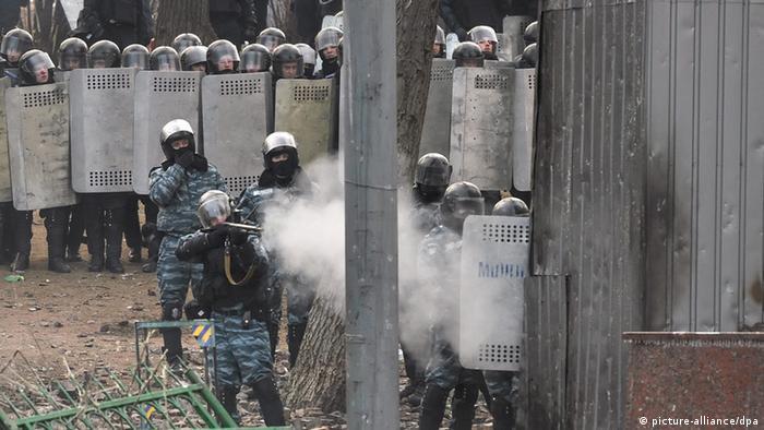 Бійці спецпідрозділу Беркут під час подій в центрі Києва, 2014 рік