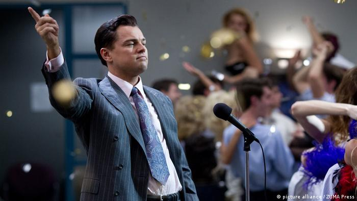Leonardo DiCaprio in a suit in the film The Wolf of Wall Street