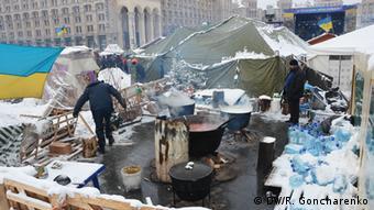 Zeltstadt auf dem Kiewer Unabhängigkeitsplatz (Foto: DW)