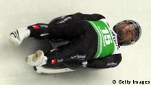 ALTENBERG, GERMANY - FEBRUARY 09: Bruno Banani of Tonga in action during the men's single qualification run in the Luge World Championship on February 9, 2012 in Altenberg, Germany. (Photo by Martin Rose/Bongarts/Getty Images)