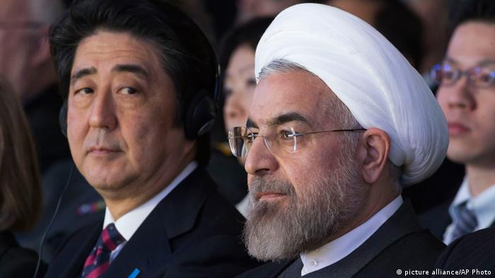 Abe and Rouhani at the World Economic Forum 2014 in Davos