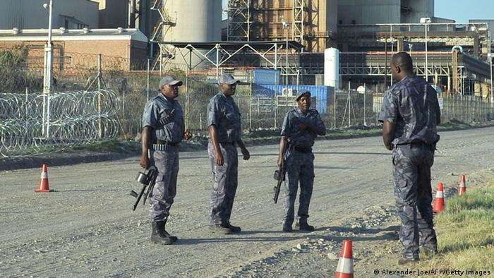 Security officers at the Lonmin Marikana mine in January 2014