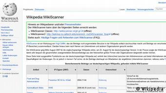 Screenshot des Wikipedia Artikels über den WikiScanner