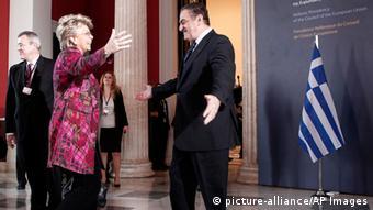 EU Justice Commissioner Viviane Reding arrives in Athens Photo: AP Photo/Alkis Kosntantinidis, Pool