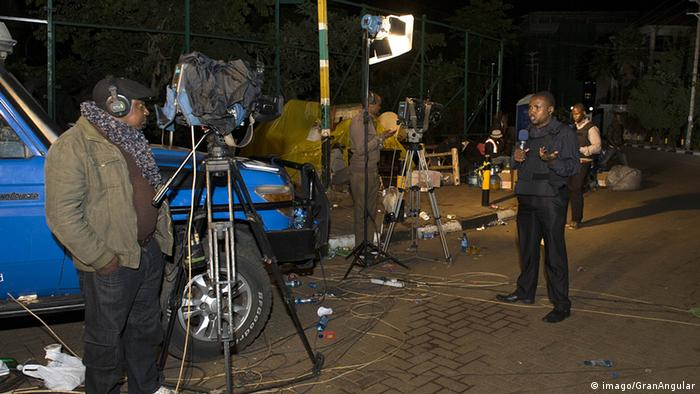 A Kenyan news team at work.