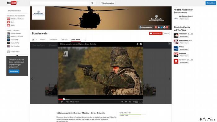 Screenshot YouTube-Kanal der Bundeswehr (YouTube)