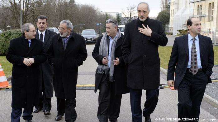 Syrian government representatives on site in Geneva (c) AFP/Getty