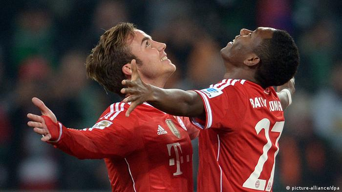Bayern players celebrate a goal