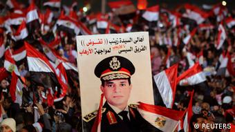 Ägypten Demonstration Plakat General Abdel Fattah al-Sisi