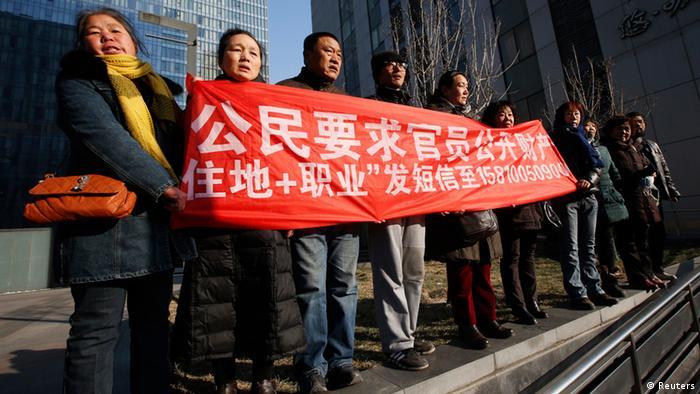 Unterstützer von Xu Zhiyong Bürgerrechtler in China 22.01.2014 (Reuters)
