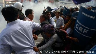 Cambodia protests turn violent