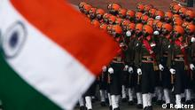 Indian Army soldiers march during the Republic Day parade in New Delhi January 26, 2014. India celebrated its 65th Republic Day on Sunday. REUTERS/Adnan Abidi (INDIA - Tags: MILITARY ANNIVERSARY POLITICS)