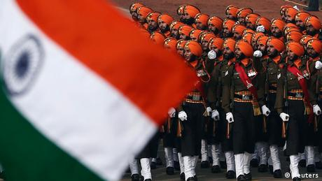 Indian soldiers march during the Republic Day parade in New Delhi on January 26, 2014