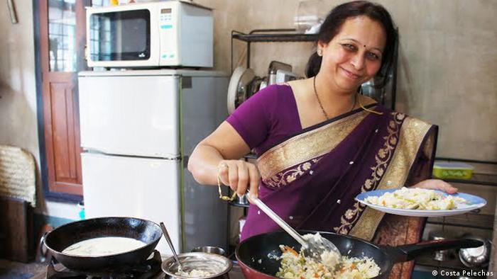 Medha Gokhale cooks in her kitchen in Pune where she conducts cooking classes for men