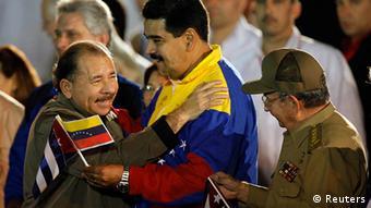 Ortega, Maduro y Castro: el eje de la izquierda.