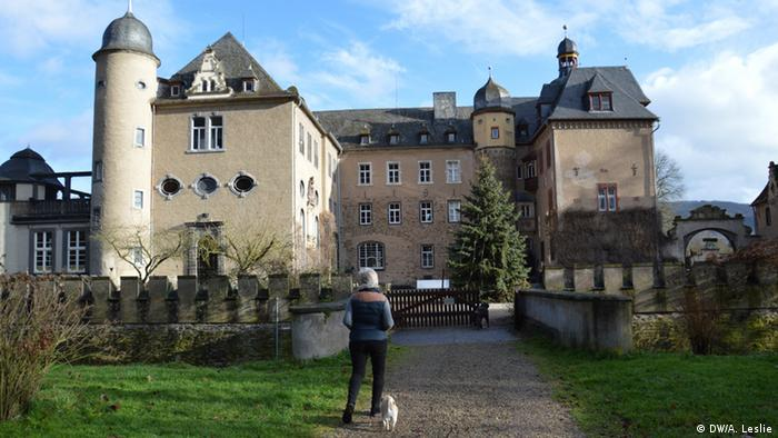 Princess Heide von Hohenzollern walks up the path to Burg Namedy