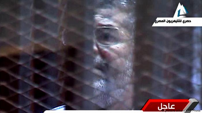 A Mohammed Morsi screen shot from Egypt State TV Prozess Haft.