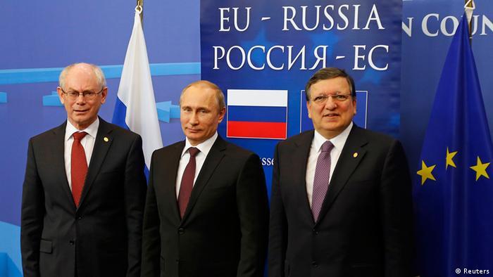 Херман ван Ромпей, Владимир Путин, Жозе Мануэл Баррозу на саммите в Брюсселе 28 января