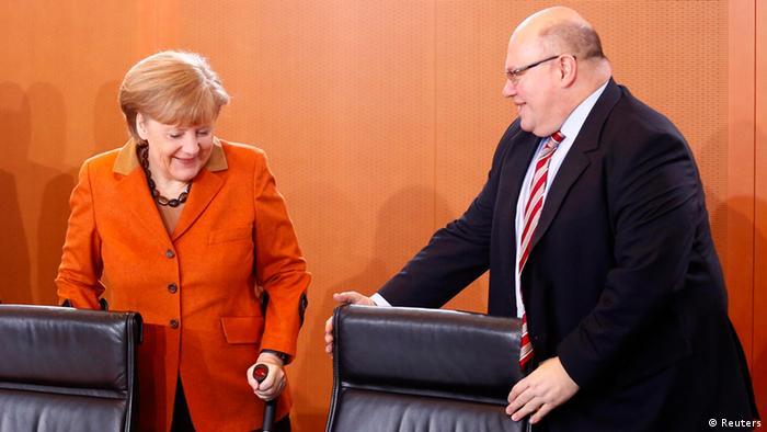 Merkel und Altmaier Kabinettssitzung 29.01.2014