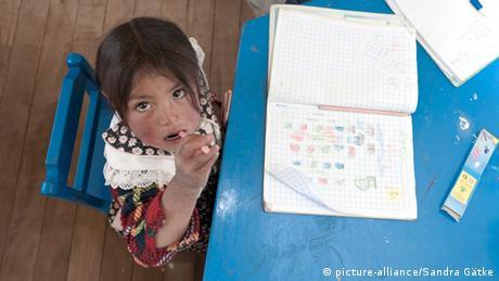 A child at a kindergarten in Peru