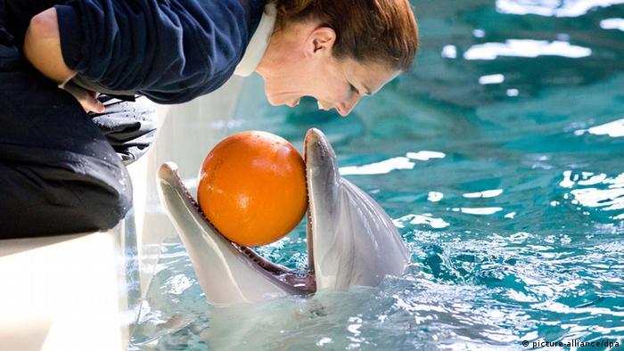 Delfintrainerin Marion Schenner und ihr Delfin