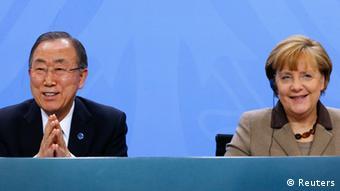 Almanya Başbakanı Merkel ve BM Genel Sekreteri Ban Ki Moon