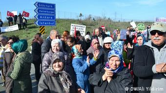 Residents of the towns of Agacli and Yenikoy on Istanbul's Black Sea coast gather to protest