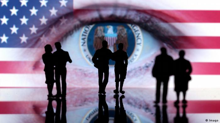 US flag,, superimposed with eye, several human figures