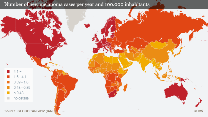 Number of new melanoma cases per year and 100.000 inhabitants