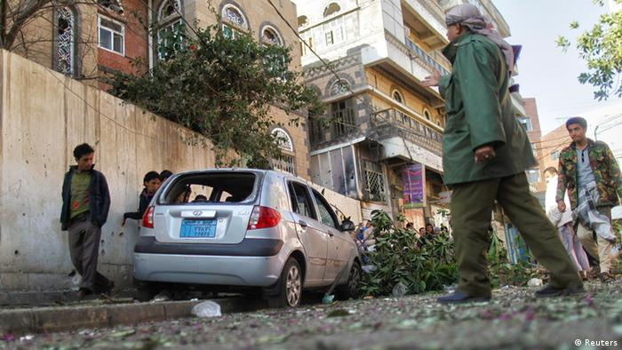 Mortars hit Sanaa in Yemen on Sunday. Photo: Reuters