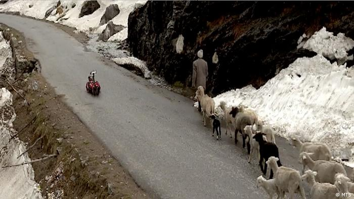 Keshavan sleds past a shepherd with his flock on a Himalayan road