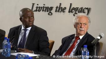 Picture of South African Deputy Chief Justice Dikgang Moseneke and lawyer George Bizos during the reading of Mandela's will in Johannesburg.