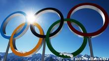 2355807 02/03/2014 Olympic rings at the Laura Biathlon & Ski Complex before the XXII Winter Olympics in Sochi. Alexey Filippov/RIA Novosti
