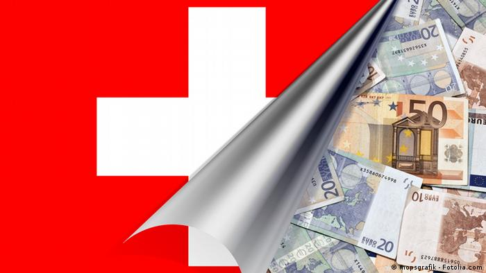 Euros stashed behind a Swiss flag
