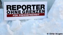 Reporter ohne Grenzen Protest vor der russischen Botschaft in Berlin 04.02.2014
