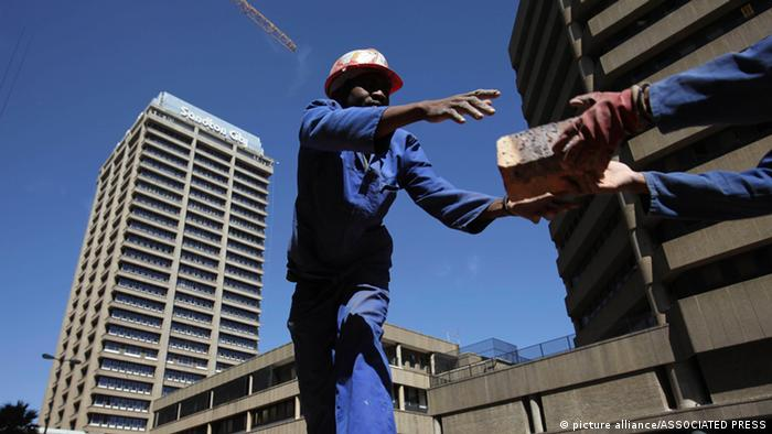 Workers at a construction site in Johannesburg, South Africa