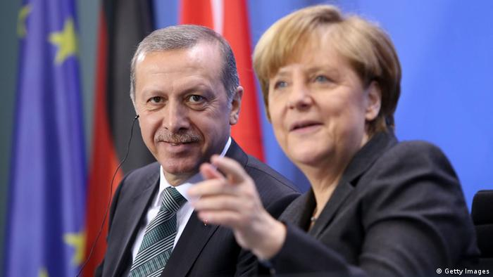 Merkel and Erdogan pictured together in Berlin (C) Adam Berry/Getty Images