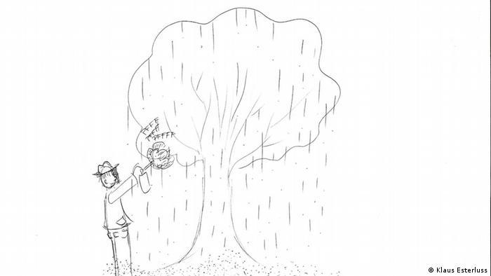 Illustration: Ein Männchen sprüht etwas auf (Illustration: Klaus Esterluss)