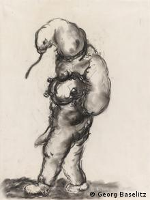 Untitled charcoal on paper by Georg Baselitz, 1965, from the exhibition Germany Divided: Baselitz and his Generation and the British Museum, Copyright: Georg Baselitz
