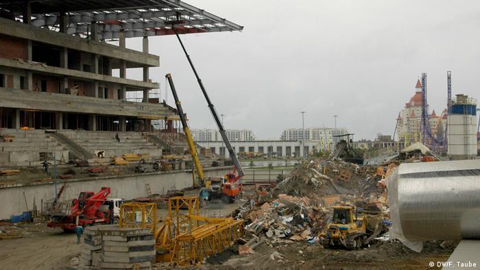 Сочи, строительство трибун на автодроме в 2014 году