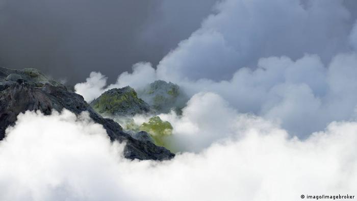 Fumaroles geothermal active Area of Onsen Akan National Park in Hokkaido, Japan