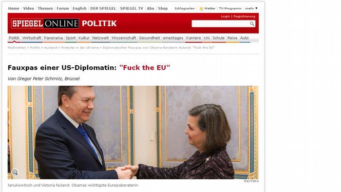 Скриншот сайта Spiegel Online со статьей о высказывании Нуланд