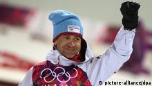 Ole Einar Bjoerndalen of Norway celebrates after winning the Biathlon Men's 10km Sprint in Laura Cross-country Ski & Biathlon Center at the Sochi 2014 Olympic Games, Krasnaya Polyana, Russia, 08 February 2014. Photo: Kay Nietfeld/dpa