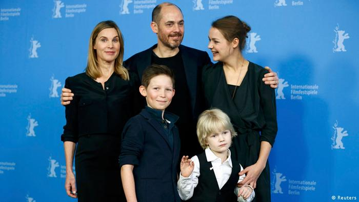 The 'Jack' crew with director Edward Berger in the middle at the Berlinale 2014 press conference Photo: REUTERS/Thomas Peter