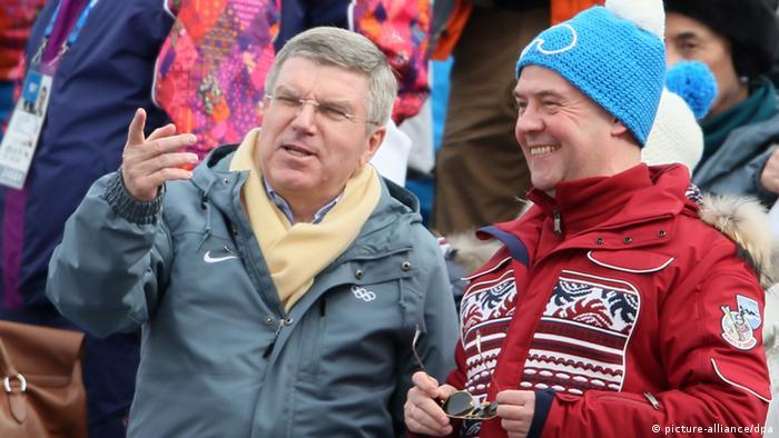 Thomas Bach und Dmitry Medvedev in Sotschi. (Foto:dpa)