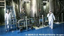 Iranian technicians are seen at the Isfahan Uranium Conversion Facilities (UCF), 420 kms south of Tehran, 08 August 2005. The UN's nuclear watchdog was due to hold an emergency session 09 August after Iran controversially resumed sensitive nuclear fuel work, but it was not expected to refer the case to the UN Security Council for possible sanctions, diplomats said. AFP PHOTO/BEHROUZ MEHRI (Photo credit should read BEHROUZ MEHRI/AFP/Getty Images)