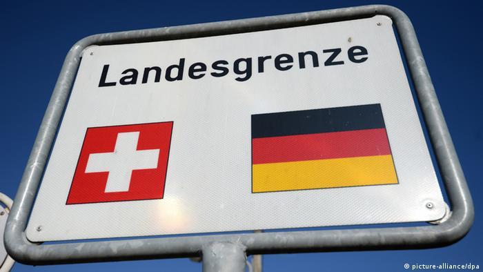 Пограничный знак на границе Швейцарии и Германии